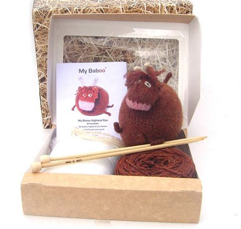 knitting kit for highland cow knitting kit by my baboo notonthehighstreet