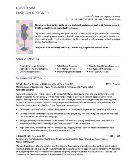 fashion designer resume exles fashion designer page1 designer resume sles