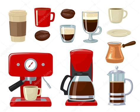Vector coffee icon set isolated on white background. Coffee maker, take away, coffee machine