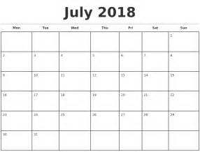 Calendar 2018 Printable Monthly July 2018 Monthly Calendar Template