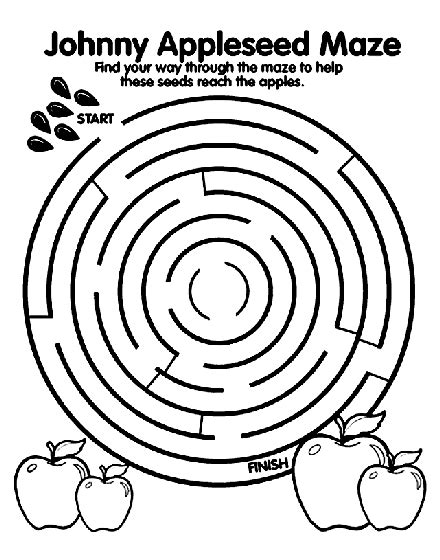 printable mazes first grade johnny appleseed maze coloring page crayola com