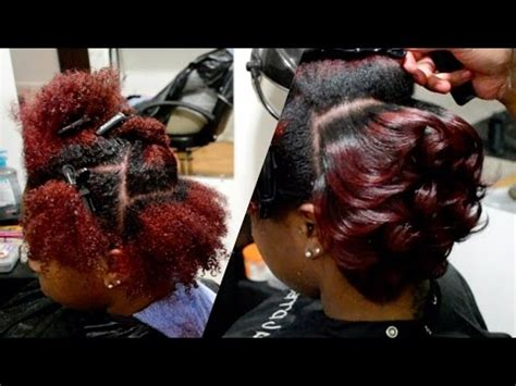 AMBER RED   BODY CURLS ON NATURAL HAIR   #SalonWork   YouTube