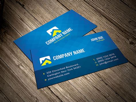 create a business card template free blue business card template vector free