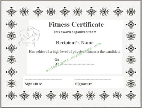fitness certificate template graphics and templates