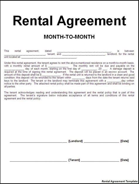 rental agreement template efficient sle of month to month rental agreement