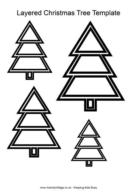 Layered Christmas Tree Template Tree Template For Cards