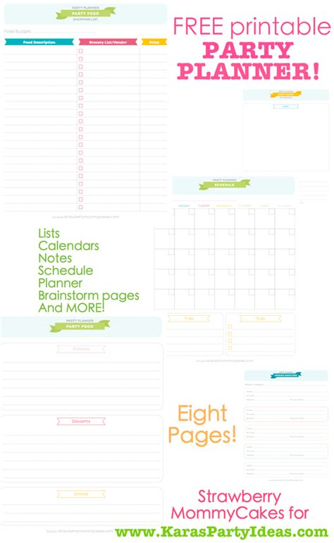 free printable planner pages for students free party planner printable free printable party