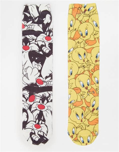 Sandal Sylvester asos 2 pack socks with tweety pie and sylvester for lyst