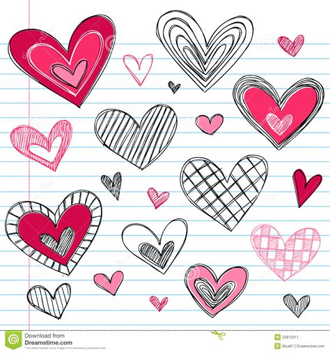 doodle valentines day hearts s day doodles stock vector image