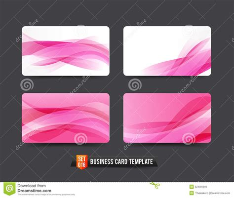 pink business card template free business card template set 16 pink wave curve element