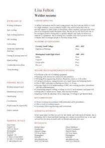 welder sle resume entry level resume templates cv sle exles