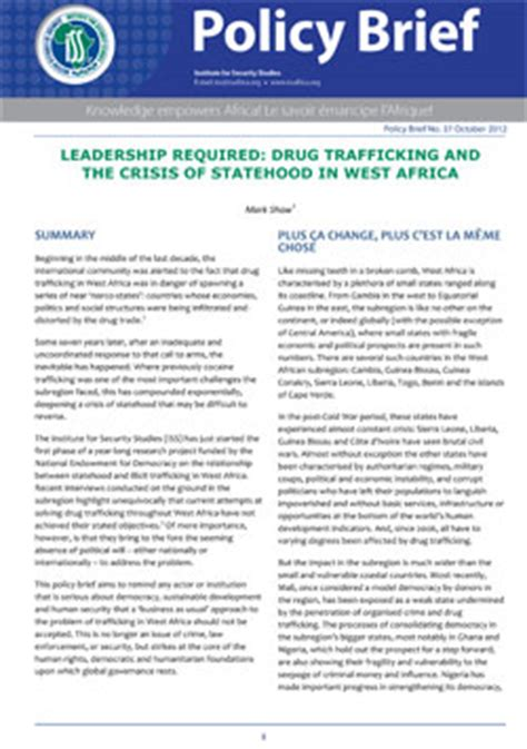 Policy Brief Briefformat Iss Africa Leadership Required Trafficking And The Crisis Of Statehood In West Africa