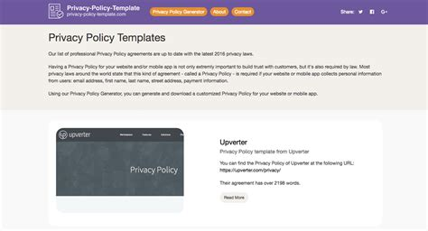 privacy policy template generator free 2018