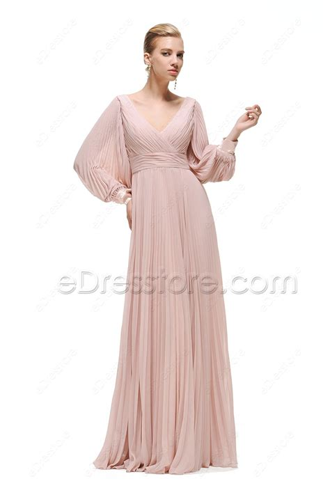 Dress Pretty Dusty Pink dusty pink modest bridesmaid dresses sleeves