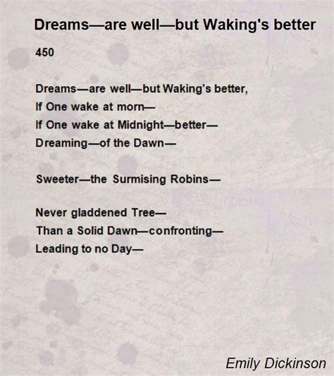 poems about knitting dreams are well but waking s better poem by emily