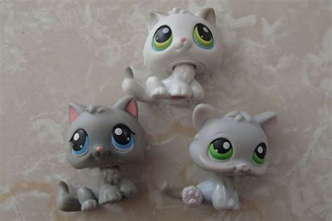 littlest pet shop rare baby kitten grey gray white