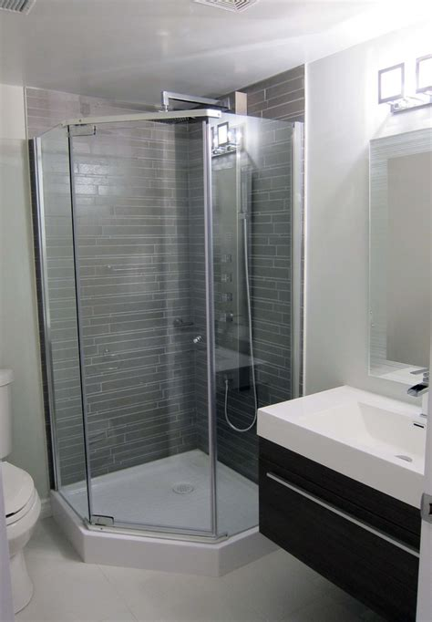 small shower stalls bathroom contemporary with basement