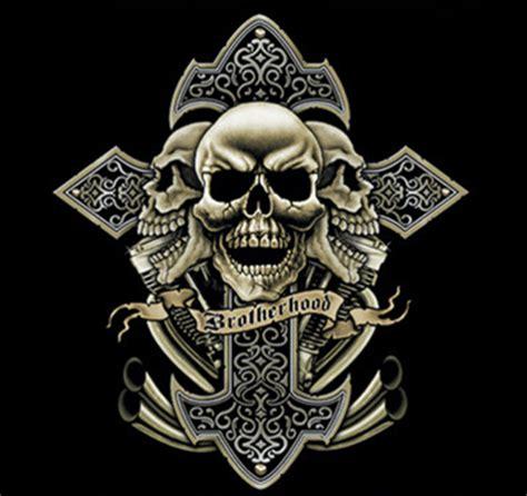motor skull biker t shirt custom design cross skull motorcycle brotherhood