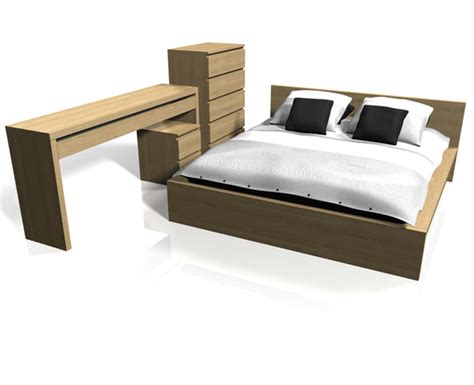 Ikea Malm Bed Set Ikea Malm Bedroom Furniture 3d C4d