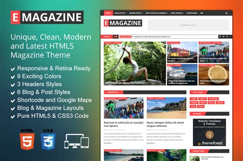html magazine themes e magazine blog magazine theme html css themes on