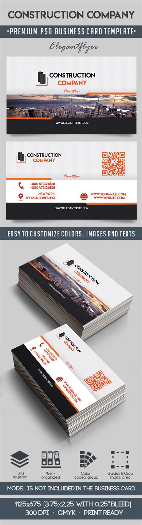 construction business card templates psd construction company psd business card by elegantflyer