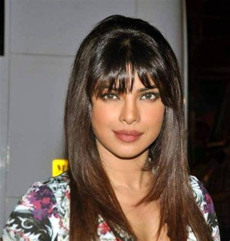 indian hairstyles with bangs priyanka chopra sleek front bangs styled indian remy wig
