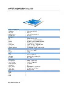 Product Specification Template by Tablet Pc Specification Template Free Microsoft Word
