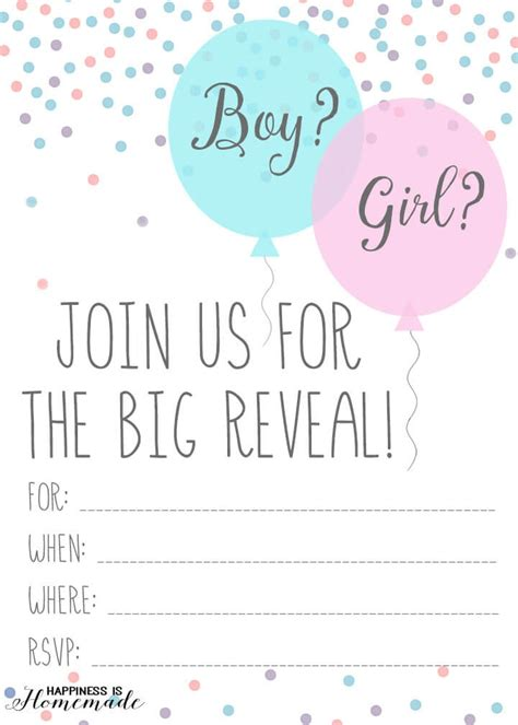 Baby Gender Reveal Party Ideas Happiness Is Homemade Gender Reveal Invitation Template