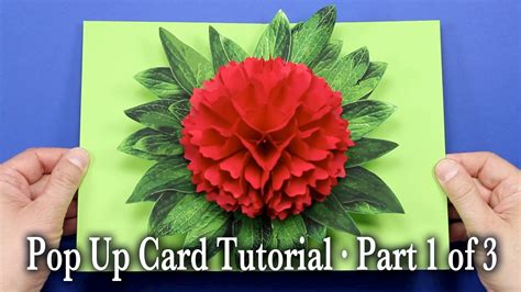 How To Make Pop Up Flowers Card In Paper - flower pop up card tutorial part 1 of 3