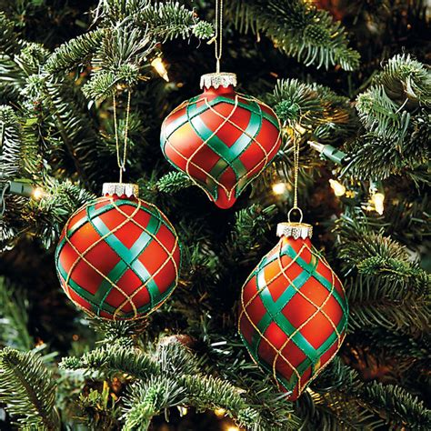 Ballard Designs Outdoor plaid ornaments set of 3 traditional christmas