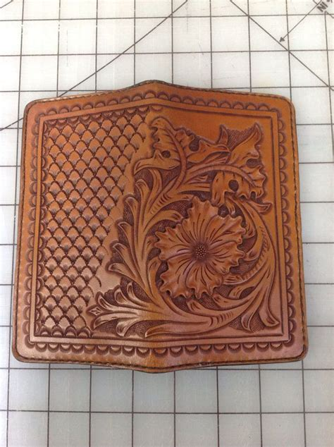 leather roper wallet pattern ready to ship custom tooled roper wallet check book