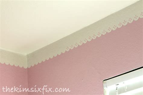 faux crown molding with paint lace eyelet inspired ceiling border the six fix