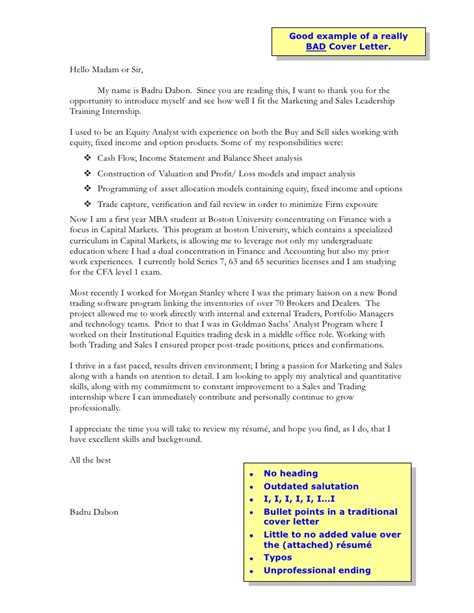 sles of bad resumes bad cover letter exle