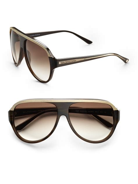 lyst balenciaga oversized studded aviator sunglasses in brown