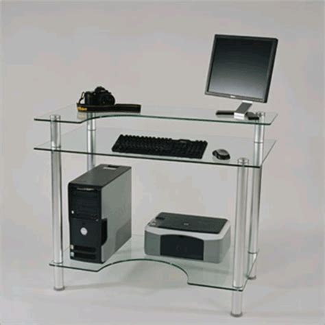 Small Glass Computer Desk Rta Small Glass Computer Desk Clear Glass Cut 106