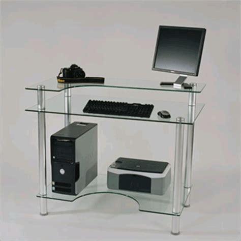 Rta Small Glass Computer Desk Clear Glass Cut 106 Small Glass Computer Desk