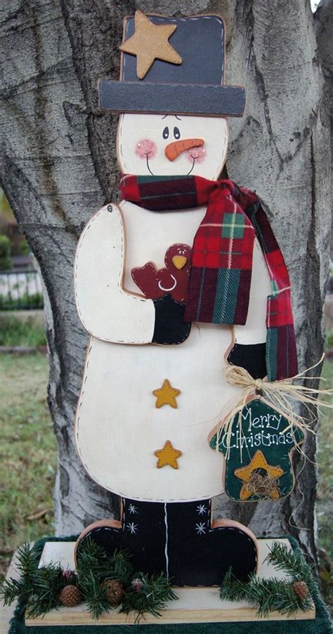 merry christmas snowman wood christmas outdoor  indoor decoration welome sign snowman