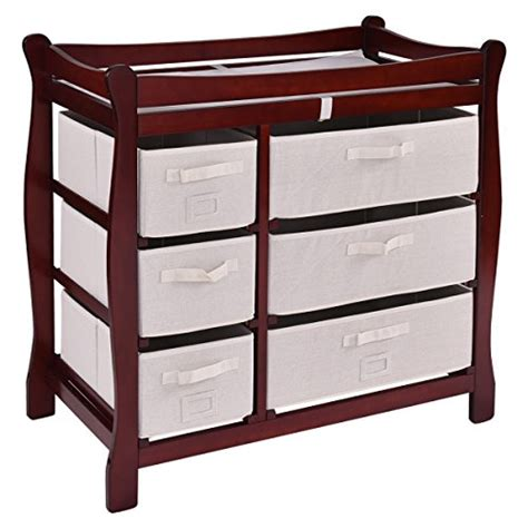 Storage Baskets For Changing Table Costzon Baby Changing Table Infant Nursery Station W 6 Basket Storage Drawers