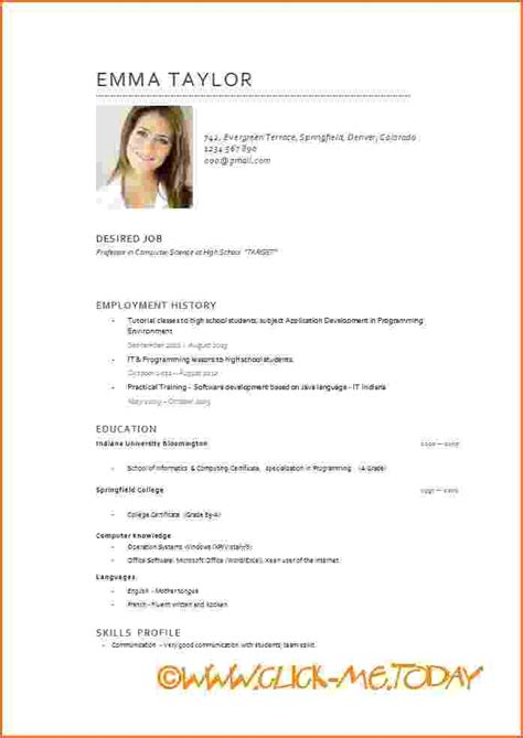 Cv Template With Photo Cv In Exle Doc Free Cv Model Cv Model Word Syvbe Homejobplacements Org