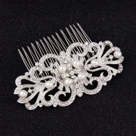 Vintage Bridal Pearl Hair Comb by Vintage Pearl Bridal Hair Side Combs For Wedding Silver