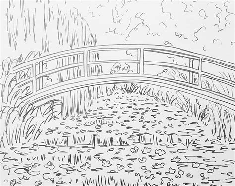 paint with water coloring pages monet bridge over waterlilies pond traceable
