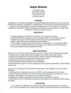 Resume Exles For Communications Professional Communications Specialist Templates To Showcase Your Talent Myperfectresume