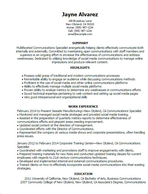 Communication On A Resume by Professional Communications Specialist Templates To