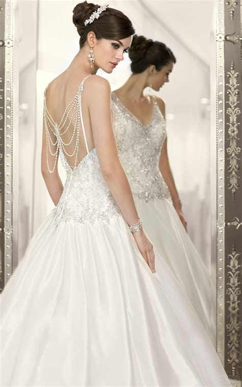 beaded back wedding dress with v neckline sang maestro