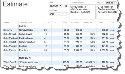 spreadsheet templates construction estimate template free