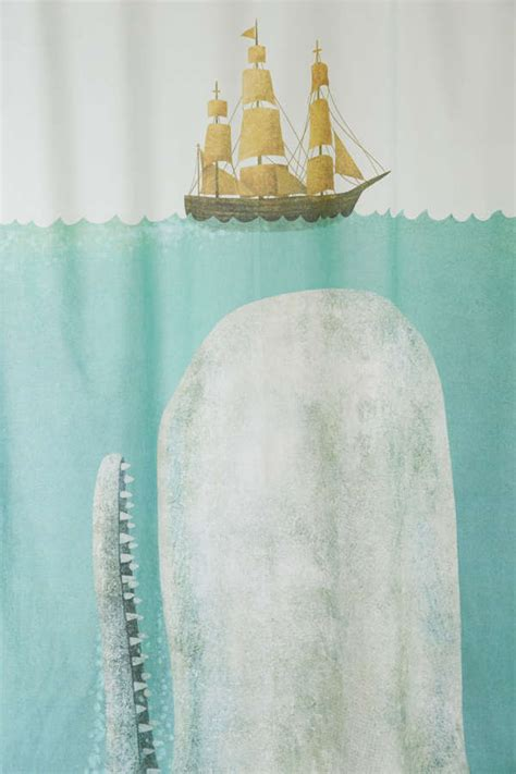 terry fan the whale print terry fan the whale shower curtain outfitters