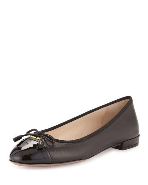 prada shoes flats prada patent leather cap toe ballet flats in black nero