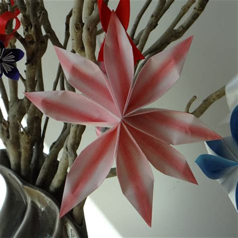 Origami 8 Petal Flower - a vase of folded flowers mostly folding