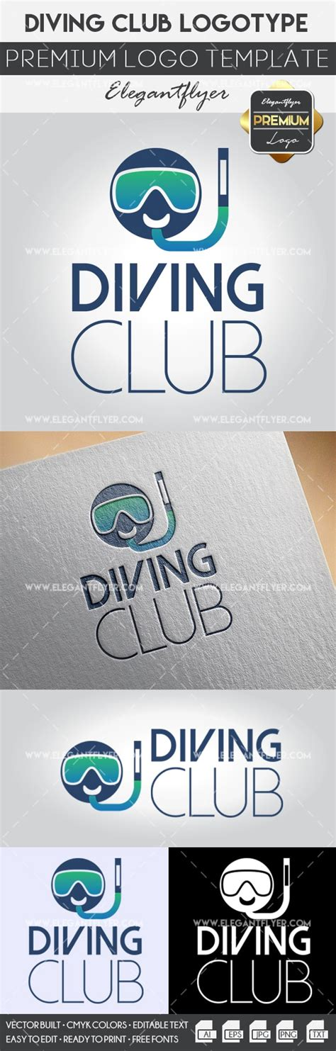 Diving Club Premium Logo Template By Elegantflyer Premium Logo Templates