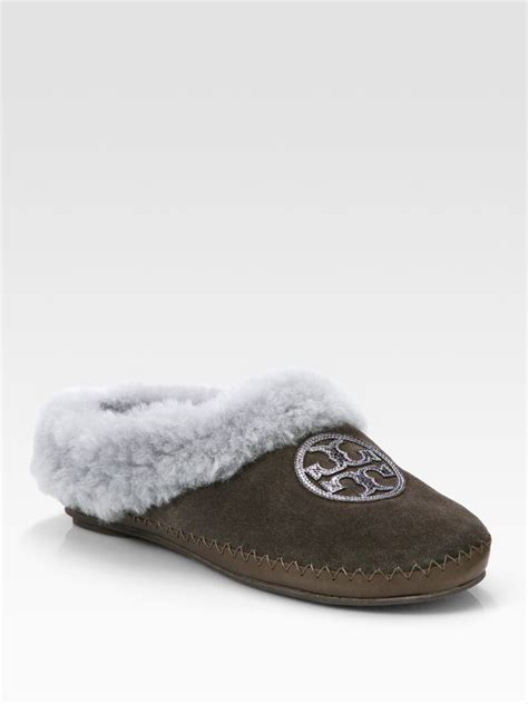 burch slipper burch coley suede and shearling slippers in brown